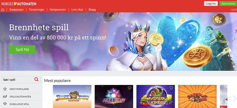 norges automaten interface screenshot